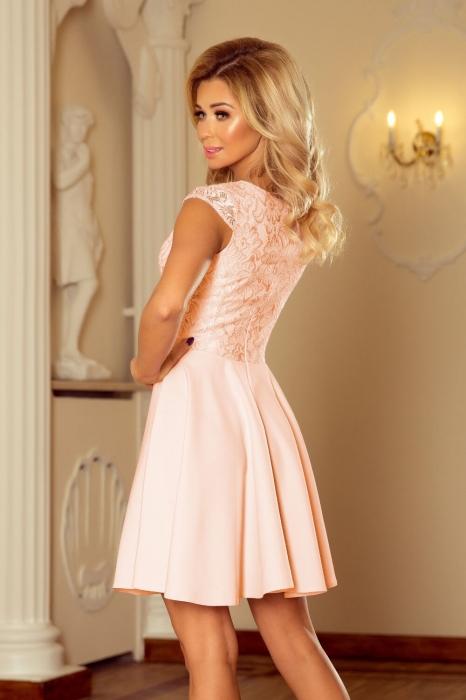 rochii scurte elegante de seara - Rochie scurta de seara Marta roz piersica 2