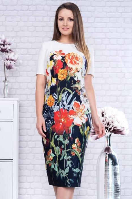 Rochii midi de zi - Rochie midi de zi marimi mari Romina, floral 1