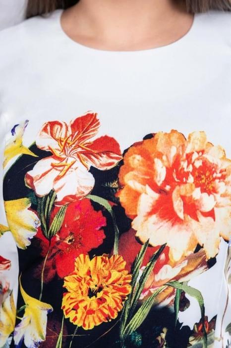 Rochii midi de zi - Rochie midi de zi marimi mari Romina, floral 4