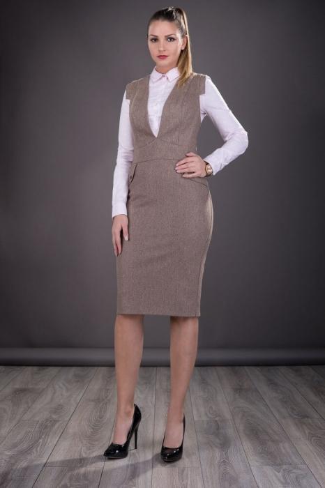 Sarafane elegante office - Sarafan dama elegant Tina bej 0