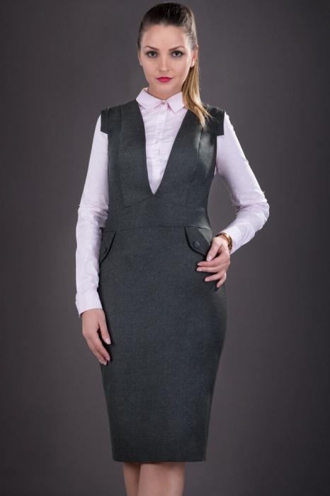 Sarafane elegante dama- Sarafan dama elegant Tina gri inchis 1
