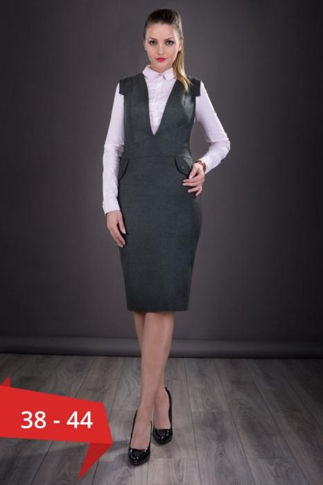 Sarafane elegante dama- Sarafan dama elegant Tina gri inchis 0