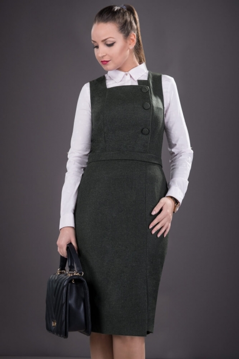 Sarafane office-Sarafan elegant de dama Sofia negru 1