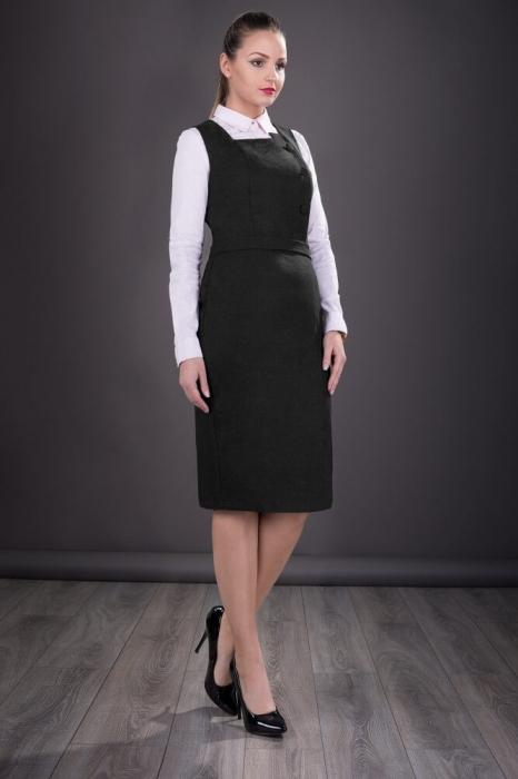 Sarafane office-Sarafan elegant de dama Sofia negru 0